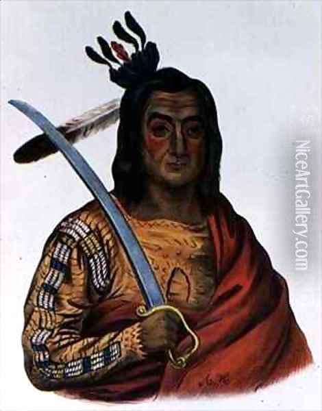 Mou Ka Ush Ka or The Trembling Earth a Yankton Sioux Chief Oil Painting - George Cooke