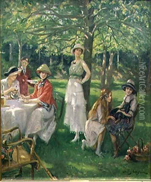 The Tea Party Oil Painting Reproduction By Jules Cayron
