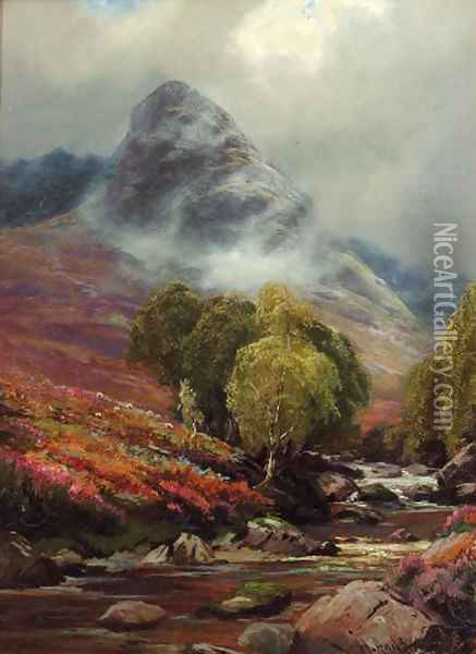 In Glen Sannox, Scotland Oil Painting - Henry Hadfield Cubley
