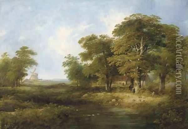 Figures by a cottage in a wooded landscape, a windmill beyond Oil Painting - William Henry Crome