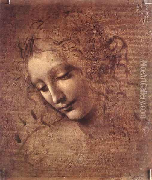 Female head (The Lady of the Dishevelled Hair) (or La Scapigliata) Oil Painting - Leonardo Da Vinci