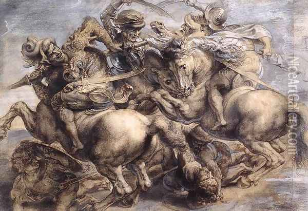 The Battle of Anghiari (detail) 1503-05 Oil Painting - Leonardo Da Vinci