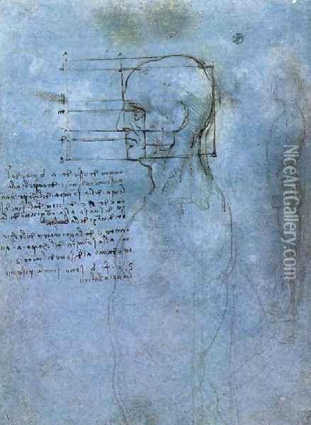 Study Of Proportion Oil Painting - Leonardo Da Vinci