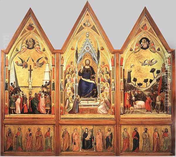 The Stefaneschi Triptych (recto) c. 1330 Oil Painting - Giotto Di Bondone