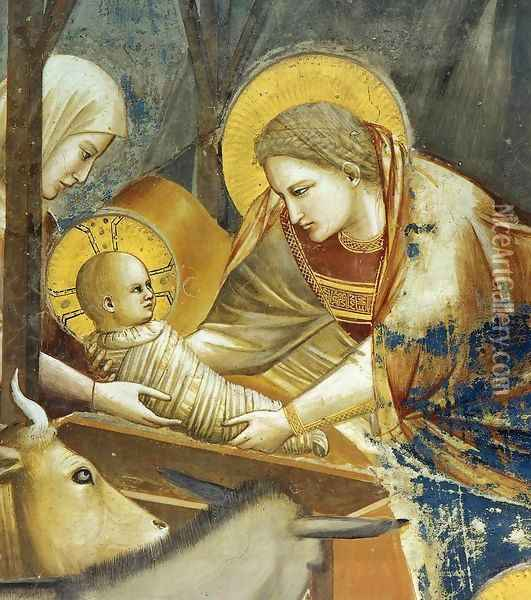 No. 17 Scenes from the Life of Christ- 1. Nativity- Birth of Jesus (detail) 1304-06 Oil Painting - Giotto Di Bondone