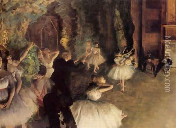 The Rehearsal Of The Ballet Onstage Oil Painting - Edgar Degas