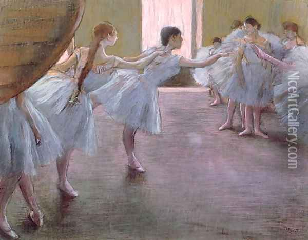 Dancers at Rehearsal, , 1875-1877 Oil Painting - Edgar Degas