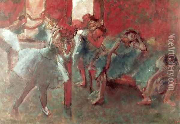 Dancers at Rehearsal, 1895-98 Oil Painting - Edgar Degas