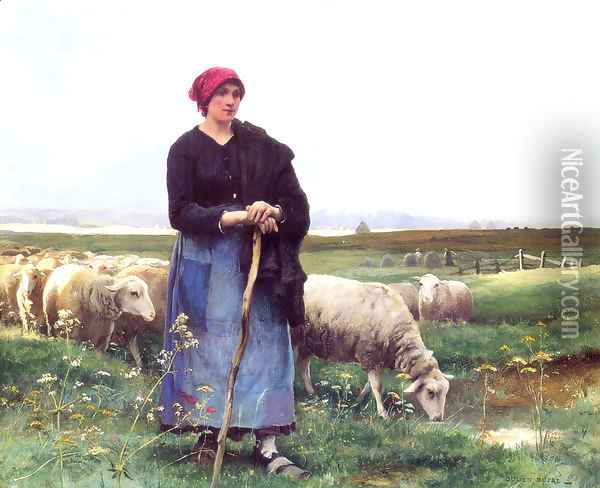 A Shepherdess With Her Flock2 Oil Painting - Julien Dupre