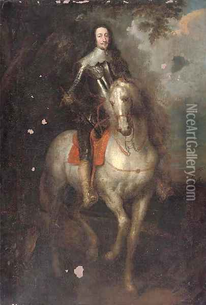 Portrait of Charles I (1600-1649), full-length, in armour, on his charger, an extensive landscape beyond Oil Painting - Sir Anthony Van Dyck