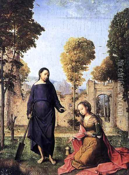 Christ Appearing To Mary Magdalen Oil Painting - Juan De Flandes