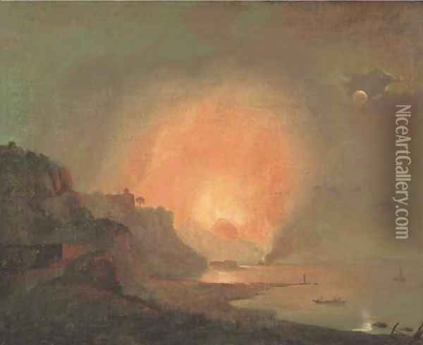 View of Mount Vesuvius erupting by Moonlight from the shore of Posilipo with a fishing boat in the foreground Oil Painting - Josepf Wright Of Derby