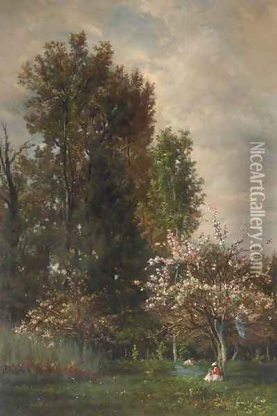 A Figure seated beneath a Cherry Tree Oil Painting - Charles-Francois Daubigny
