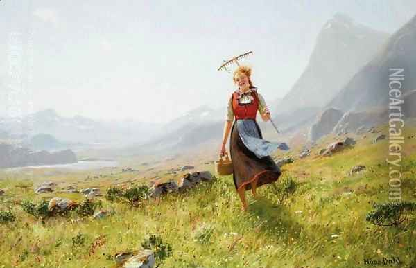 Returning from the Fields (Tilbake fra marken) Oil Painting - Hans Dahl