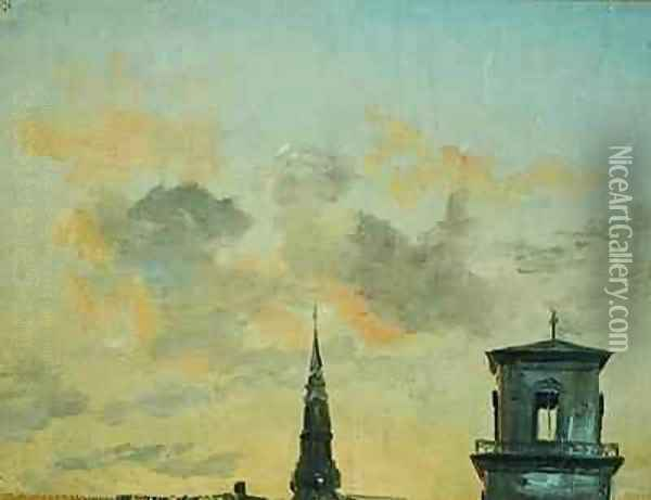 Two Towers in Copenhagen Against the Evening Sky Oil Painting - Johan Christian Clausen Dahl