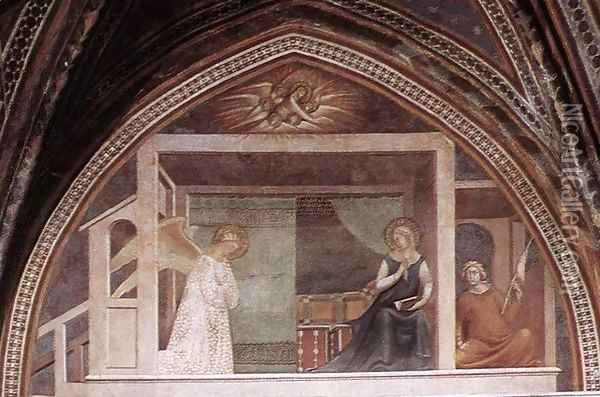 The Annunciation Oil Painting - Barna Da Siena