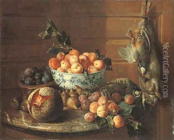 Plums in a basket and apricots in a blue and white bowl, with figs, a melon, plums, peaches and a red-legged partridge on a marble shelf, by a rabbit Oil Painting - Alexandre-Francois Desportes