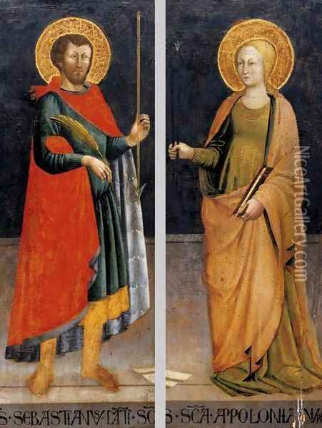 Sts Sebastian and Apollonia Oil Painting - Bicci Di Neri