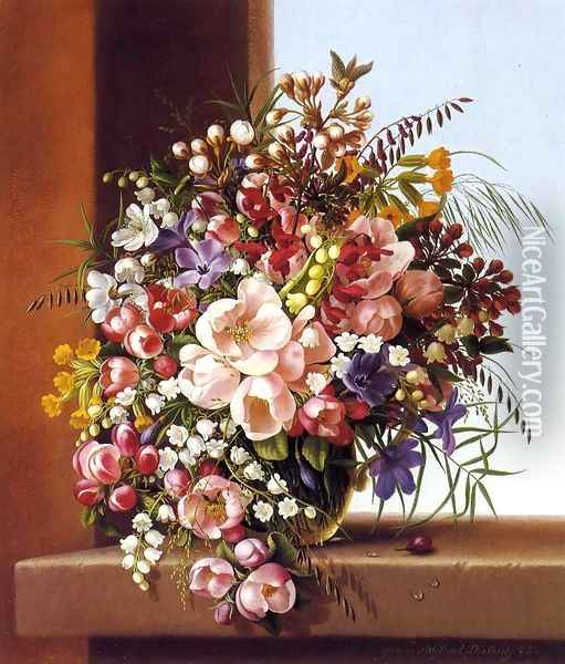 Flowers in a Glass Bowl Oil Painting - Adelheid Dietrich