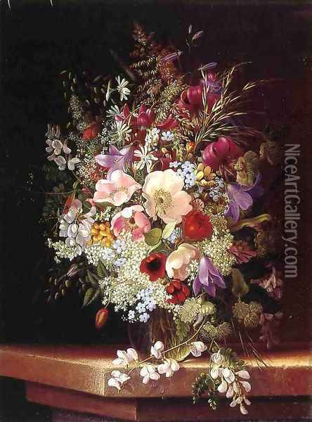 Still Life With Flowers Oil Painting - Adelheid Dietrich
