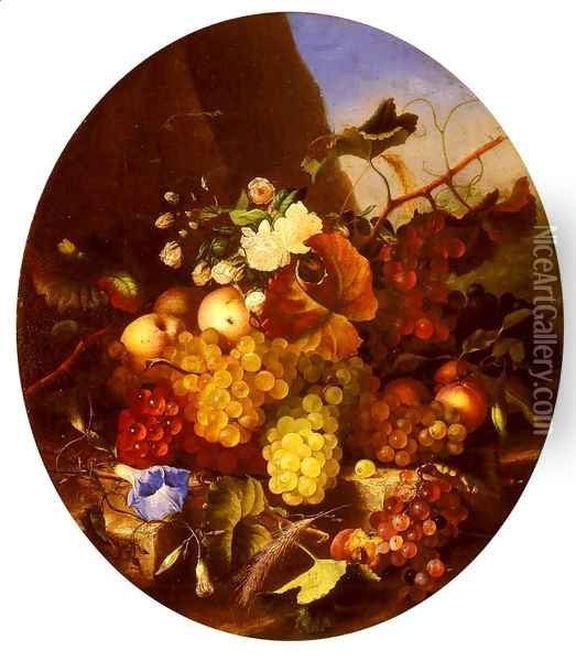 Still Life Of Fruit And Flowers Oil Painting - Adelheid Dietrich