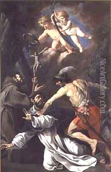 The Martyrdom of St Peter Martyr Oil Painting - Luca Da Reggio (Ferrari)