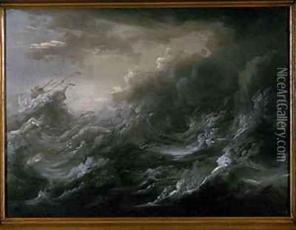 sea storm and shipwreck 2 oil painting reproduction by