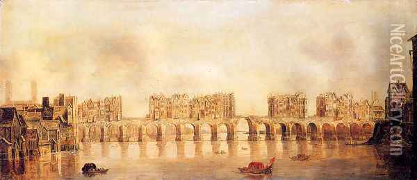 View Of Old London Bridge From The West Oil Painting - Claude De Jongh