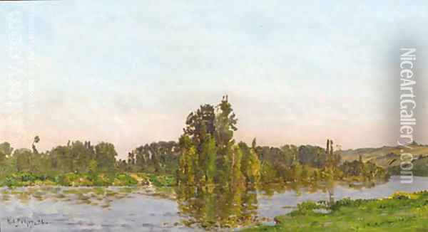 Jour d'ete a river landscape in summer Oil Painting - Hippolyte Camille Delpy