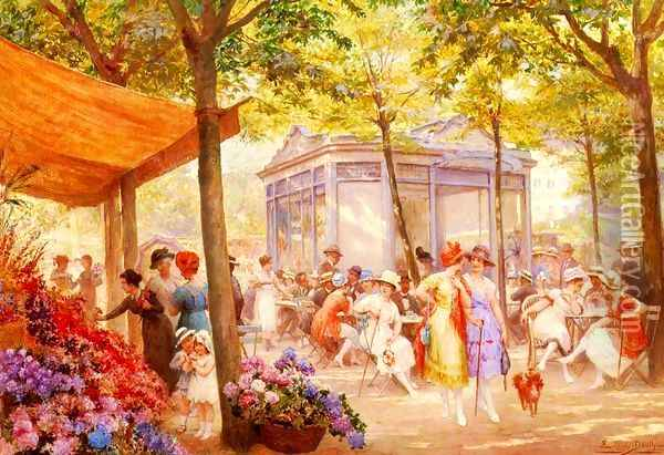 La Marche Aux Fleurs (The Flower Seller) Oil Painting - Eugene Auguste Francois Deully