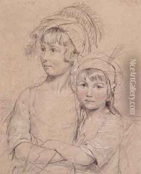 No 1857 The Misses Rigby the two daughters of Mr Rigby of Norwich a celebrated surgeon Oil Painting - John Downman