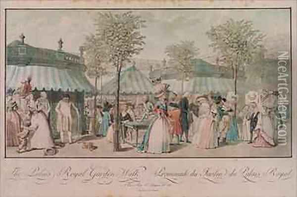 The Palais Royal Garden Walk Oil Painting - Philibert-Louis Debucourt