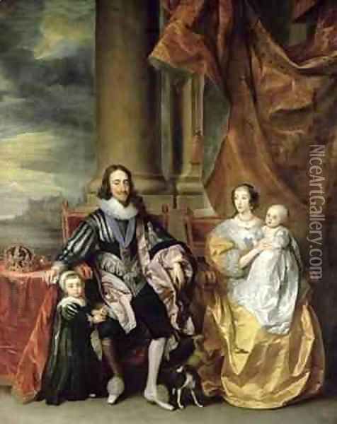 King Charles I 1600-49 and his Family Oil Painting - Sir Anthony Van Dyck