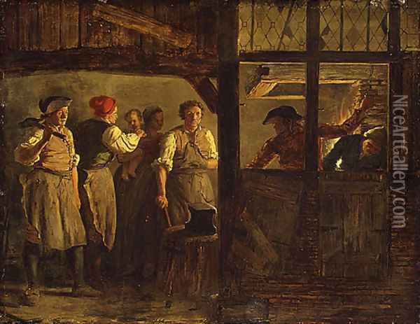 The Forge Oil Painting - Leonard Defrance