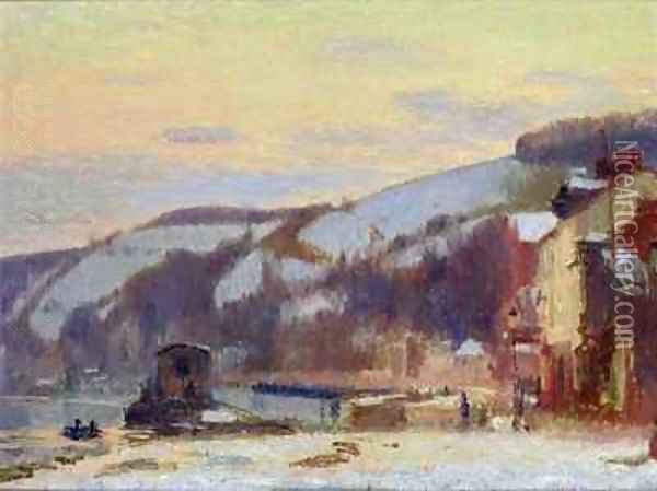 Hillside at Croisset under snow Oil Painting - Joseph Delattre