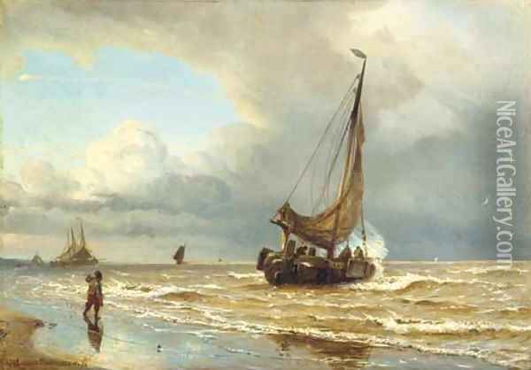 Sailing vessels in the surf Oil Painting - W.A. van Deventer