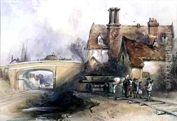 Construction of the Eastern Counties Railway Oil Painting - Thomas Colman Dibdin