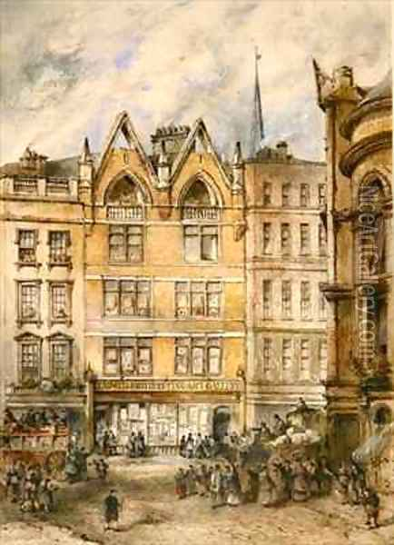 View of Gracechurch Street Oil Painting - Thomas Colman Dibdin