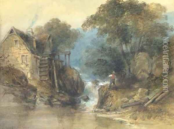 On Stock Gill, Ambleside Oil Painting - Thomas Colman Dibdin