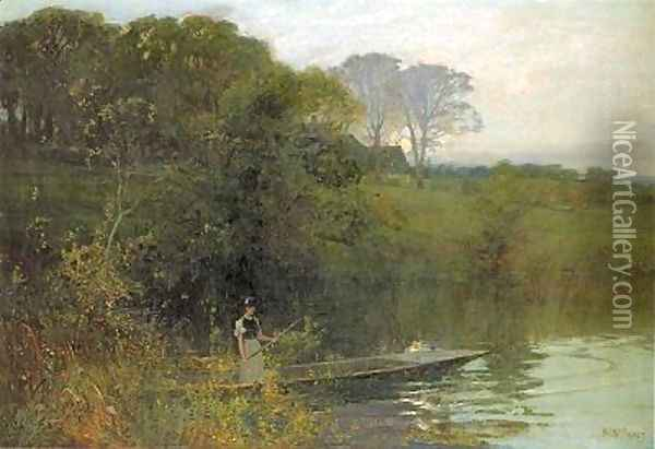 Twilight punting Oil Painting - Sir Alfred East
