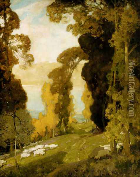 Lake Bourget From Mount Revard, Savoy Oil Painting - Sir Alfred East