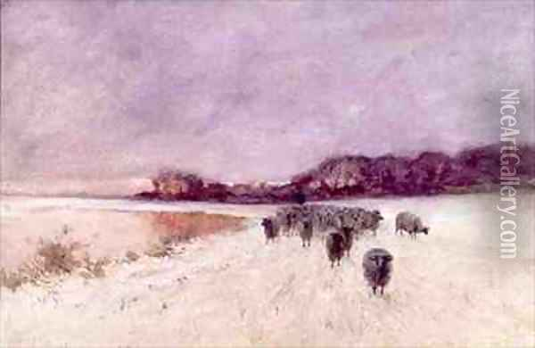 Winter at Loch Ard Oil Painting - Sir Alfred East