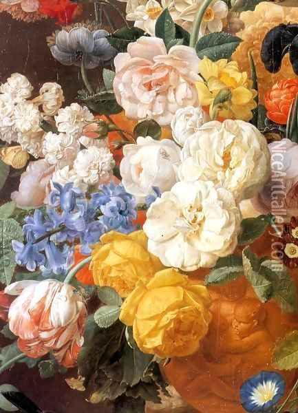 Bouquet of Flowers in a Sculpted Vase (detail) Oil Painting - Jan Frans Eliaerts
