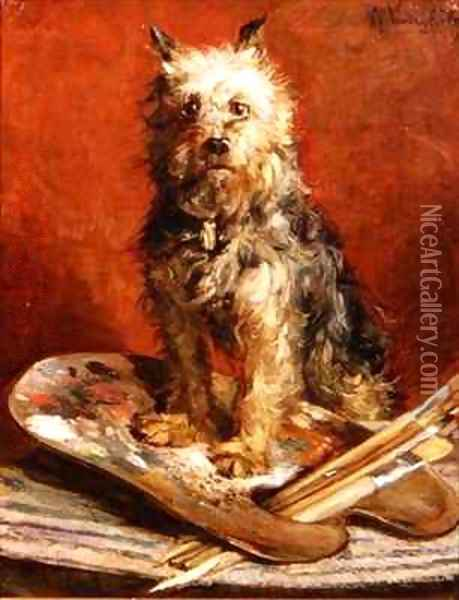 The Artists Dog Oil Painting - Charles van den Eycken