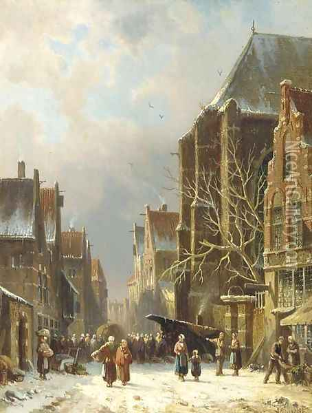 A busy street in winter Oil Painting - Adrianus Eversen