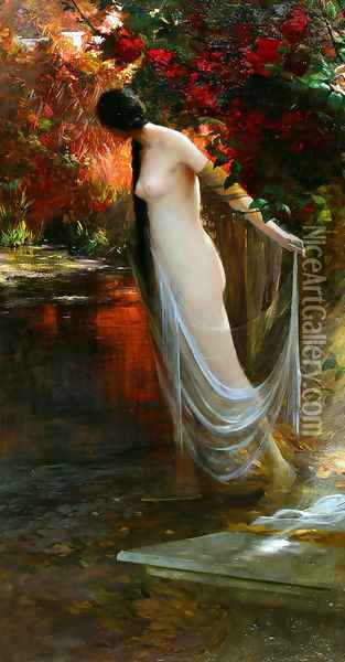 Ophelia at the River's Edge Oil Painting - Carlos Ewerbeck