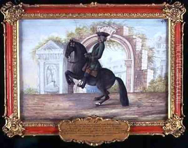 No 42 Agrable a dark fawn horse of the Spanish Riding School performing a dressage movement called a Curvet Oil Painting - Baron Reis d' Eisenberg