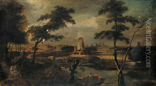 A distant view of Amsterdam with peasants in a ferry in the foreground Oil Painting - Gerard Edema