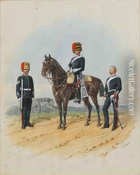 Officers Of The Royal Artillery Oil Painting - Richard Simkin