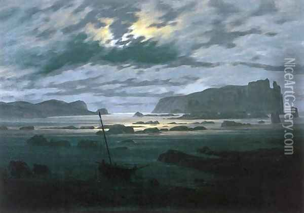 The North Sea in Moonlight Oil Painting - Caspar David Friedrich